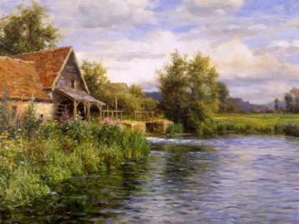 cabaña en el río